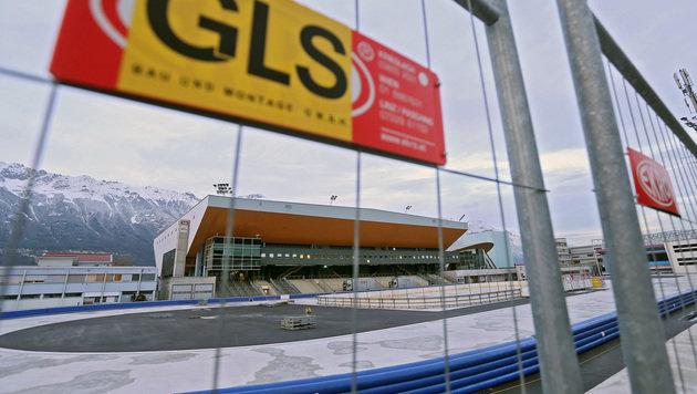 Bei der Baustelle beim Eisstadion in Innsbruck war die GLS am Werk. (Bild: Christof Birbaumer)