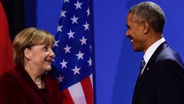 """Obama: """"Als Deutscher würde ich Merkel wählen"""" (Bild: APA/AFP/TOBIAS SCHWARZ)"""