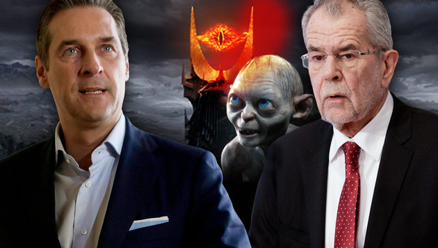 "Strache kontert: ""Van der Bellen wird zu Gollum"" (Bild: APA, New Line Cinema, APA/GEORG HOCHMUTH, Warner Home Video)"