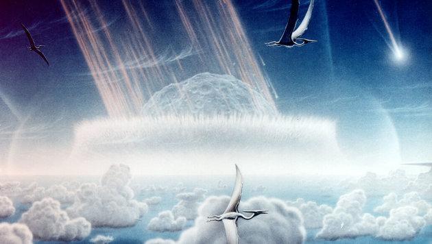 Künstlerische Darstellung des Chicxulub-Asteroideneinschlags (Bild: NASA/JPL/Donald E. Davis)