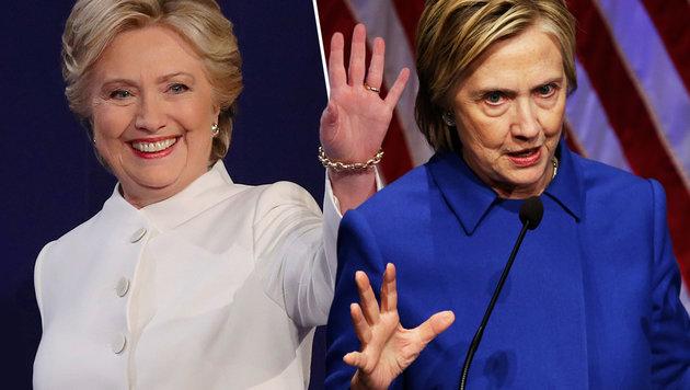 Nach Niederlage: Was ist mit Hillary Clinton los? (Bild: AFP/Drew Angerer, AFP/Yuri Gripas)