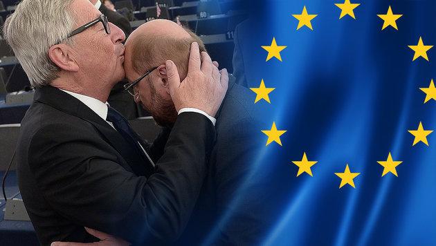 Wenn Schulz geht, will auch Juncker aufgeben (Bild: AFP, thinkstockphotos.de)