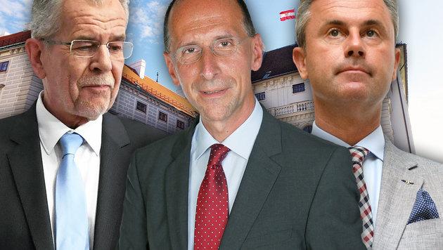 Alexander Van der Bellen, Peter Filzmaier, Norbert Hofer (Bild: APA/HELMUT FOHRINGER, Martin A. Jöchl)