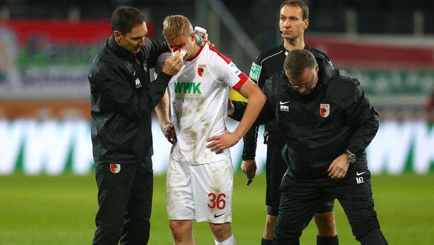 Martin Hintereggers Nase ist gebrochen (Bild: APA/dpa/Karl-Josef Hildenbrand)