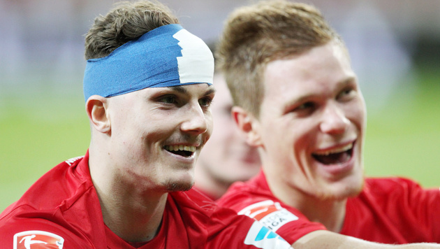 """""""Schädel brummt aber 3 Punkte im Gepäck"""", postet der Leipzig-Kicker auf Facebook. (Bild: GEPA)"""