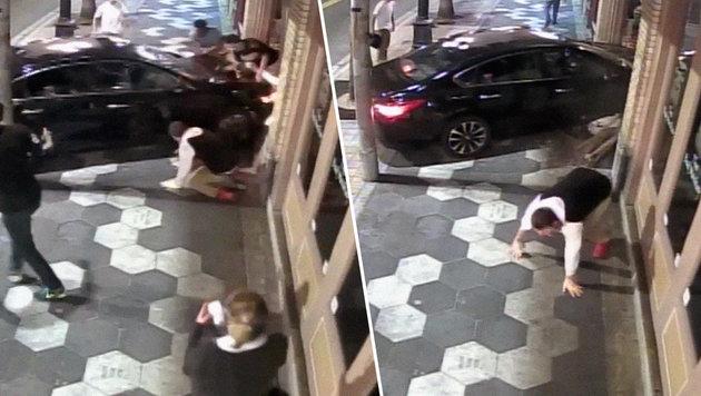 USA: Auto fährt Raufbolde nieder und kracht in Bar (Bild: LiveLeak)