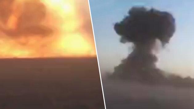 IS-Attentäter kurz vor Panzerkonvoi vernichtet (Bild: LiveLeak)
