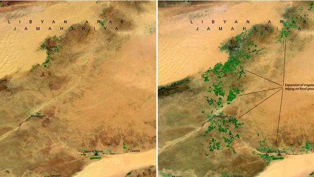 Das libyische Great-Man-Made-River-Projekt macht Teile der Wüste grün (April 1987 und April 2010). (Bild: NASA)