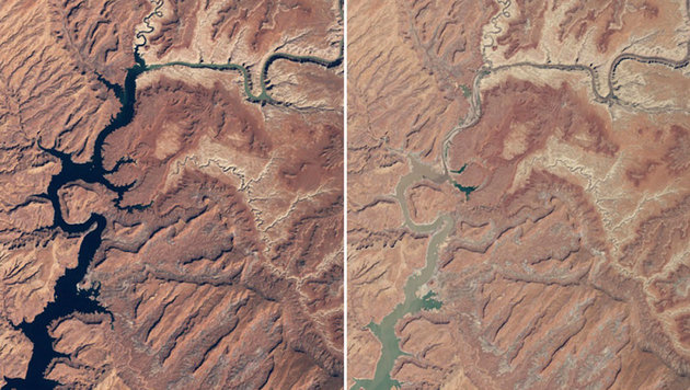 Der Powell-See (USA) im März 1999 (links) bzw. im Mai 2014 (rechts) (Bild: NASA)