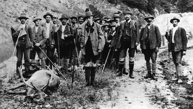 Kaiser Franz Joseph I. auf der Jagd in Mitterweißenbach am 31. Juli 1912 (Bild: APA/MUSEEN DER STADT WIEN)