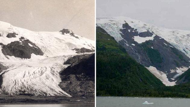 Der Toboggan-Gletscher in Alaska anno 1909 (links) bzw. im September 2000 (Bild: NASA)