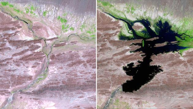 Der Fluß Dasht in Pakistan im August 1999 (links) und - aufgestaut - im Juni 2011 (rechts) (Bild: NASA)