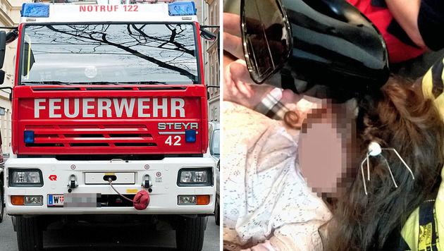 Feuerwehr rettet Kind (3) aus schmerzlicher Lage (Bild: Andreas Graf, Berufsrettung Wien)