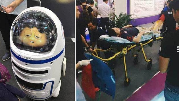 Roboter zerstört Messestand und verletzt Passant (Bild: twitter.com)