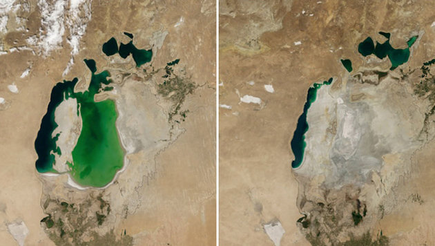 Der Aralsee in Zentralasien im August 2000 (links) und im August 2014 (rechts) (Bild: NASA)
