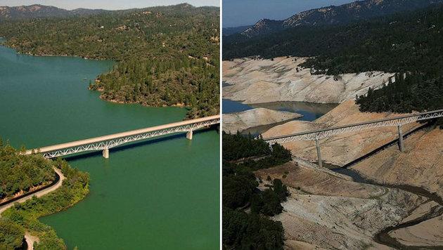 Der Oroville-Staudamm in Kalifornien im Juli 2010 (links) bzw.  im August 2016 (rechts) (Bild: NASA)