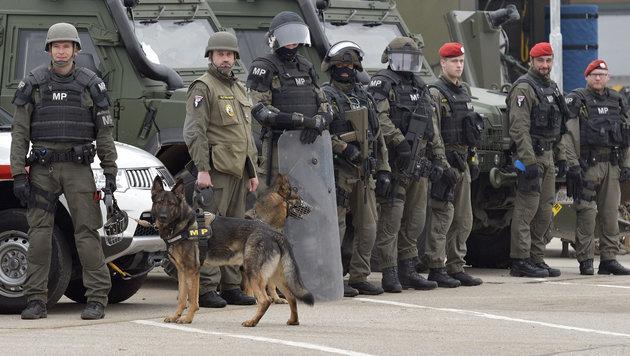 Anti-Terror-Übung mit Soldaten, Cobra und Panzer (Bild: APA/HANS PUNZ)