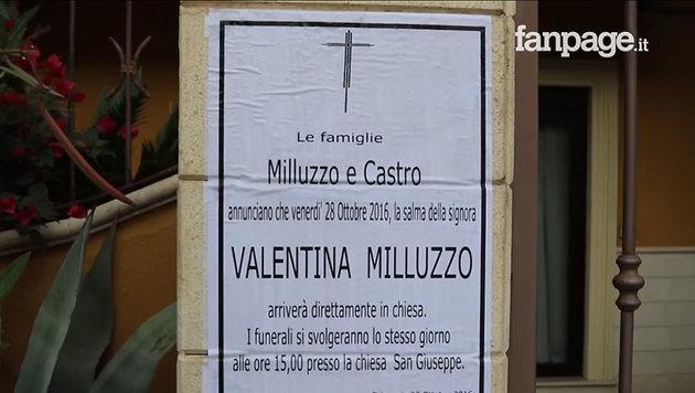Die Ankündigung für die Beerdigung der jungen Frau, die unter so tragischen Umständen sterben musste (Bild: YouTube.com)