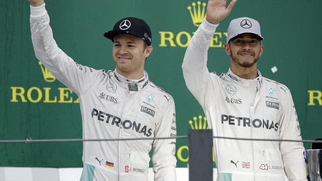Rosbergs und Hamiltons Weg zum Weltmeister (Bild: AP)