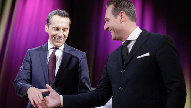 Handshake zwischen Kern und Strache - auch nach der Wahl? (Bild: APA/GEORG HOCHMUTH)
