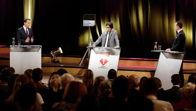 Bundeskanzler Kern, Moderator Klaus Webhofer und FPÖ-Chef Strache (v.l.n.r.) (Bild: APA/GEORG HOCHMUTH)