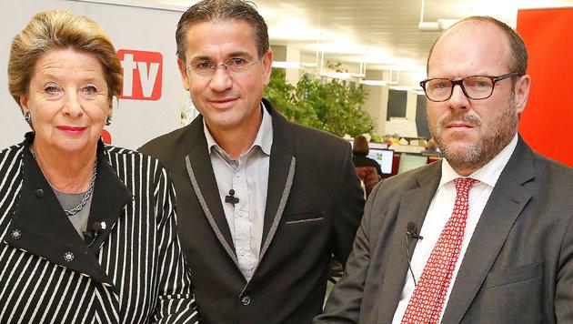 Ursula Stenzel mit Moderator Gerhard Koller und Daniel Kapp (re.) (Bild: krone.tv)