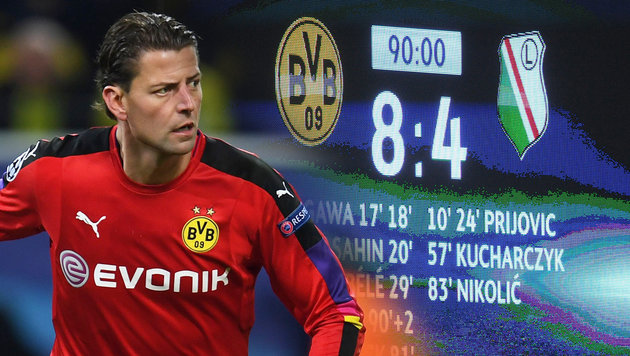 """Fehl am Platz!"" BVB-Goalie schimpft nach Torparty (Bild: APA/AFP/PATRIK STOLLARZ, GEPA)"