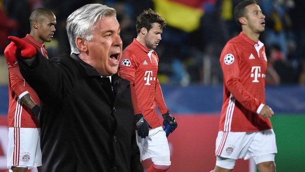 CL-Blamage! Bei den Bayern rumort es gewaltig (Bild: AP/Sergey Pivovarov, APA/AFP/PATRIK STOLLARZ)