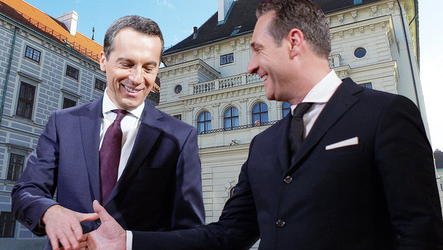 "Entscheidet rot-blaue ""Flirtshow"" Hofburg-Wahl? (Bild: APA/HELMUT FOHRINGER, APA/GEORG HOCHMUTH)"