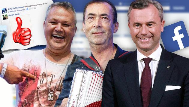 Werner Otti, Hubert von Goisern und Norbert Hofer (Bild: facebook.com/werner.otti, APA/GEORG HOCHMUTH, AP)