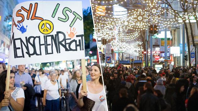Wien: Asyl-Demo legt City im Weihnachtstrubel lahm (Bild: APA/GEORG HOCHMUTH)