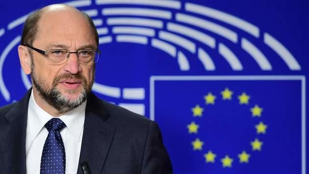 Martin Schulz bei einer Rede in Brüssel (Bild: APA/AFP/EMMANUEL DUNAND)