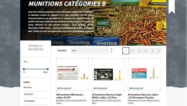 Ein Screenshot der Waffenshop-Website, deren URL Adam an Zulihan schickte (Bild: Screenshot)