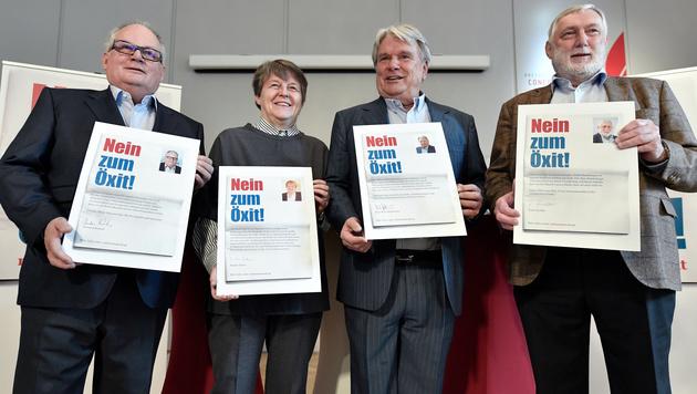 Christian Konrad, Brigitte Ederer, Hans Peter Haselsteiner und Franz Fischler (v.l.n.r.) (Bild: APA/HANS KLAUS TECHT)