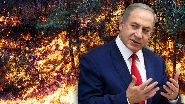 """Premier Netanyahu will die """"Terroristen"""" bestrafen, die die Brände gelegt haben sollen. (Bild: AFP/JACK GUEZ, AFP/MENAHEM KAHANA)"""