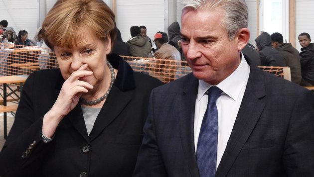 """Kommt die Abkehr von Angela Merkels """"Willkommenspolitik""""? Merkel links, Strobl rechts im Bild (Bild: APA/AFP/Christof Stache, dpa/Uwe Anspach)"""