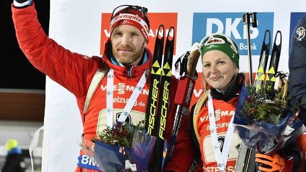 ÖSV-Duo Hauser/Eder Staffel-Zweite im Weltcup (Bild: APA/AFP/TT News Agency/ROBERT HENRIKSSON)