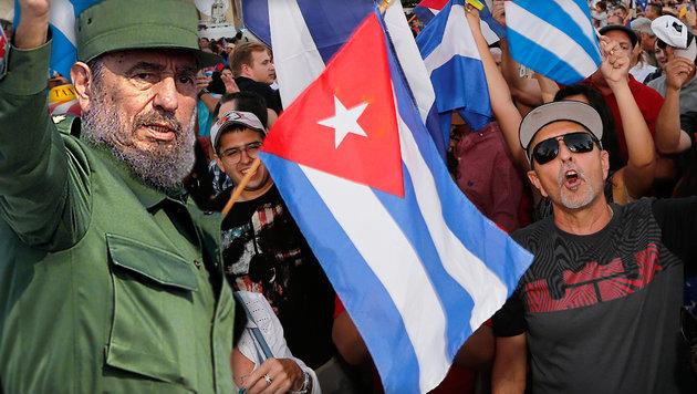 So feiern die Exil-Kubaner Tod von Fidel Castro (Bild: APA/AFP/Gustavo Caballero, APA/AFP/Hona Wise)
