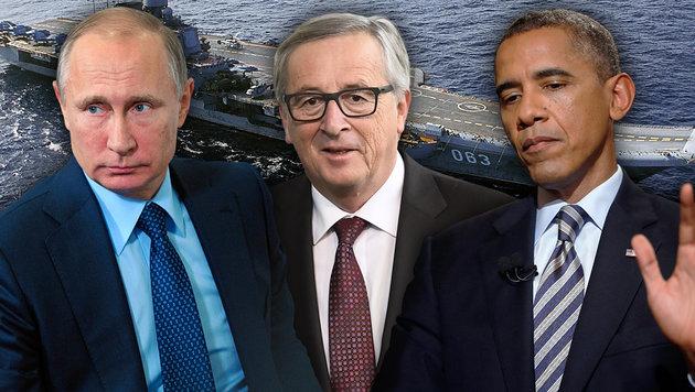 Juncker: Obama hat Russland schwer unterschätzt (Bild: AP, AFP/LOIC VENANCE, AP/Mikhail Klimentyev)