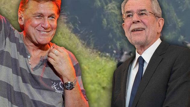 """Rainhard Fendrich unterstützt Alexander Van der Bellen - auch mit seinem """"I am from Austria"""". (Bild: YouTube.com, APA/HANS PUNZ, AFP/JOE KLAMAR)"""