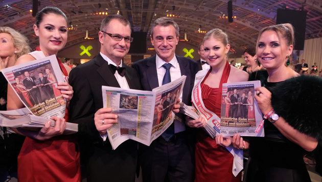 """""""OÖ-Krone""""-Chefredakteur Harald Kalcher und RLB-General Heinrich Schaller. (Bild: Chris Koller)"""