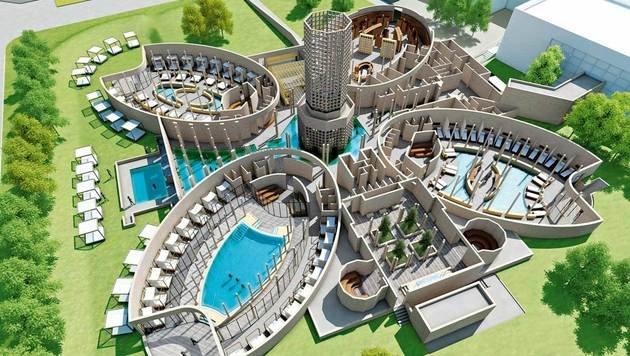 Der Wiener Architekt Wolfgang Vanek entwarf das Silent Spa, unterteilt in vier großzügige Elipsen. (Bild: Therme Laa)