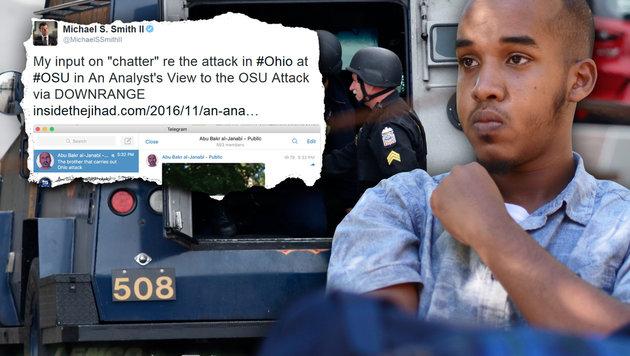"""IS rühmt Ohio-Attentäter als einen seiner """"Brüder"""" (Bild: AFP/PAUL VERNON, AP/Kevin Stankiewicz, twitter.com)"""