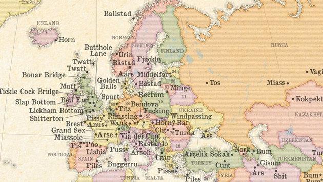 Vor allem in Europa tummeln sich zweideutige Ortsnamen. (Bild: marvellousmaps.com)