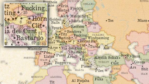 Das ist die Karte der versautesten Ortsnamen (Bild: marvellousmaps.com)