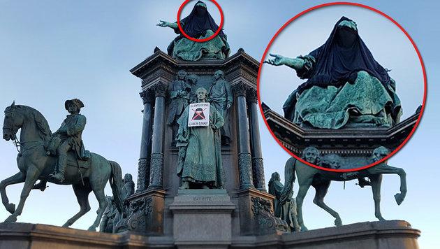 """Die verhüllte Statue der Kaiserin Maria Theresia (Bild: """"Krone""""-Leserreporter)"""