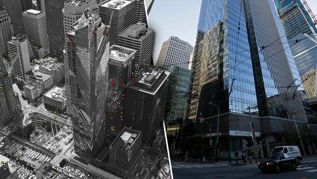 USA: Wolkenkratzer sinkt und kippt seitwärts (Bild: AP)