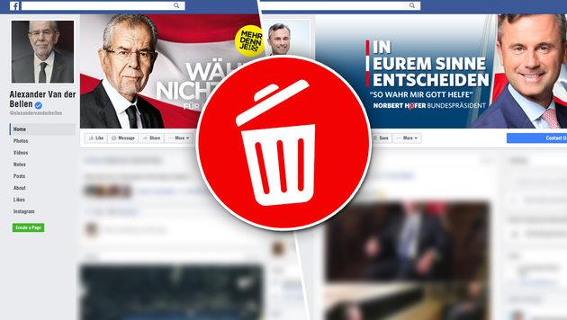 Welche Postings Hofer und Van der Bellen löschen (Bild: facebook.com, thinkstockphotos.de)
