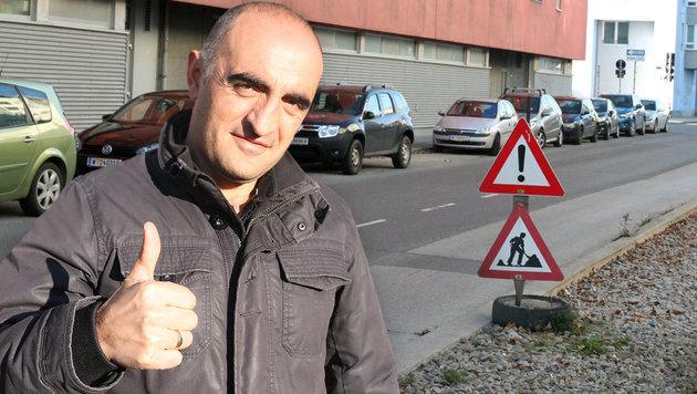 Familienvater Nasit Pasoski holte den Taschenräuber in der Langobardenstraße ein. (Bild: Andi Schiel)