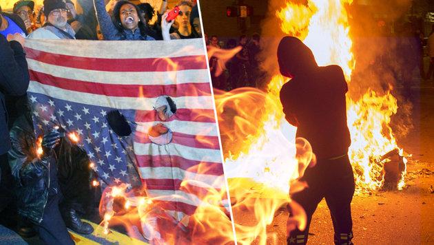 "Flaggen-Verbrennen als neuer ""Trend"" in den USA (Bild: twitter.com/The2ndA, thinkstockphotos.de, APA/AFP/JOSH EDELSON)"